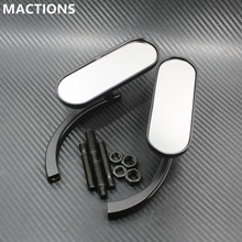 Black Mini Oval Mirrors For Harley Cruiser Chopper 8mm&10mm For Motorcycle Cruiser Chopper Bobber 8MM 10MM(China)