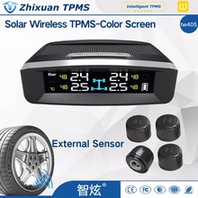 TW405 cheap solar tpms car Tire Pressure Monitoring System 4 External Sensors For Cars Solar Power TPMS USB interface charge(China)