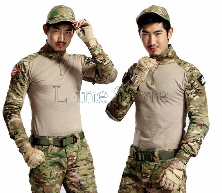Army Camouflage Military Combat Shirt Multicam Uniform Militar Shirts Paintball Hunting Tactical Clothes Knee Pads Outdoor Sport<br><br>Aliexpress