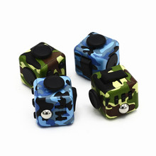 3.3cm Camouflage Mini Fidget Cube Toy Desk Finger Toys Fun Stress Reliever Puzzle Cube with Box