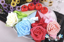100 x Rose Cones Holder Bowknot Ice Cream DIY Purple Rose Candy Boxes Gift Box Wedding Table Decor Party Wedding Favor(China)