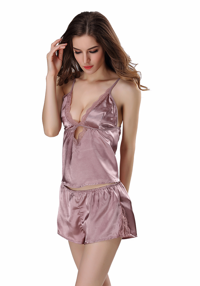 SusanDick Brand Satin Sexy Lingerie Set Women Hollow Out Backless Sexy Silk Pajamas Shorts Set Ladies Home Clothing Sleepwear