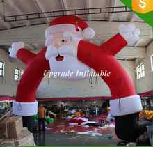 cheap 20 ft outdoor advertising air blown inflatable Santa Claus arch for Christmas yard decoration