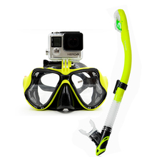 Matte Color diving mask and snorkel Twin lens tempered glass scuba mask with dry diving snorkel tube hot camera mount dive mask
