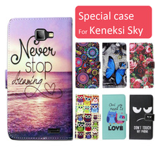 Fashion cartoon printed flip wallet leather case for Keneksi Sky with Card Slot phone bag book case ,gift
