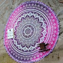 Diameter 150cm Style Flower Printing Chiffon Round Beach Towel Tablecloth Yoga Mat Napeo Beach Tunic Cover Up