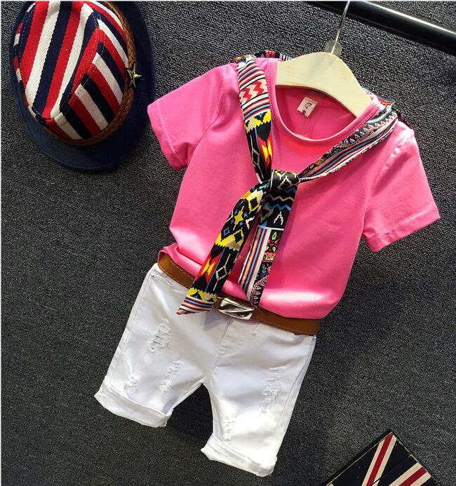2017 summer Europe fashionable Children with short T-shirt ab26 casual pants belt mq826<br><br>Aliexpress