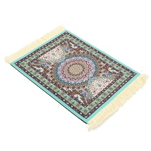 Kiwarm Elegant Blue Cotton Persian Style Mini Woven Rug Mouse Pad Carpet Mousemat With Fringe For Home Decor Craft Gift 18X28CM
