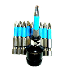 "1/2"" Dr to 1/4"" Hex Bit Screwdriver Bits Adaptor with 10pcs 50mm Phillips Screw Driver Magnetic Bit PH2 Philips Screwdriver Bits(China)"