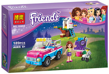 Bela 10555 Girls Friends Olivias Expeditions Auto Car Toys DIY Building Brick Toys Girls Gift Compatible Lepin 41116