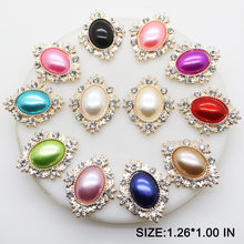 10pcs lot1.26 1.00in Rhinestone Snap Button Jewerly Metal Pearl Button  Diamond Flatback for Wedding Hair Ribbon Craft Decoration e8b313483e76