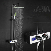 Digital shower set with temperature display panel with shower time display shower faucet bathroom thermostatic shower set