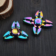 Colorful Finger Fidget Spinner Metal Kid Gift Hand Spinner for Autism And ADHD Reduce Stress Focus Finger Toys for Children(China)