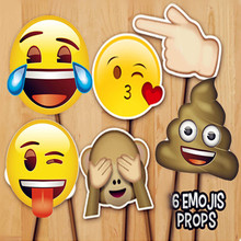 6pcs Party favor Supplies Emoji Face Photo Booth Props funny mask kid baby birthday gift wedding decor bridal shower Accessories