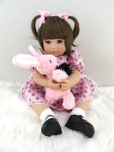 50cm Silicone Vinyl Reborn Baby Doll Toys Like Real Princess Girl Toddler Girl Doll with Plush Rabbit Play House Bedtime Toy Gif