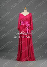 30% discount for holliday V Neck  long sleeve Bridesmaid Dress Chiffon Hot Pink