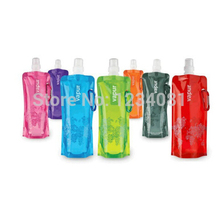 Free shipping Hot sale Environmental Portable Foldable 480ml Sport Water Bottle bag Cup for Hiking random colors