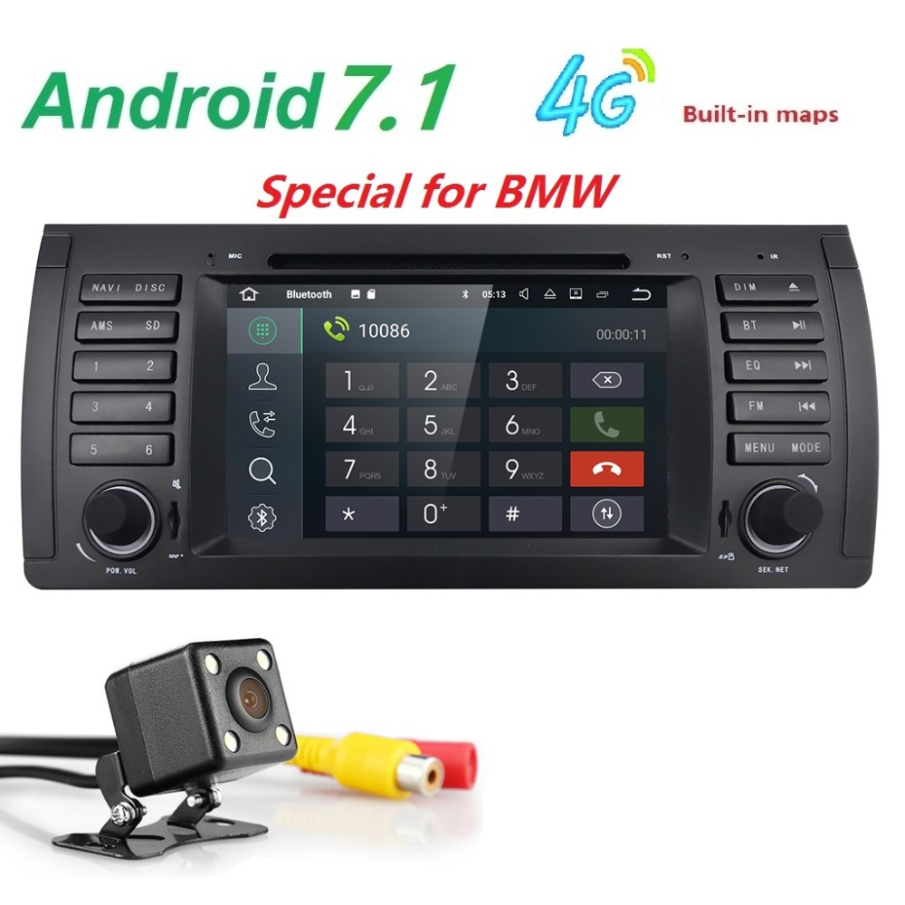 "7""Android 7.1 Car DVD Player GPS Navigation OBD2 For BMW E39 1997-2003 M5 7 Series SWC DVR DAB BT FM/AM CAM DTV DVBT RDS MIC MAP(China)"