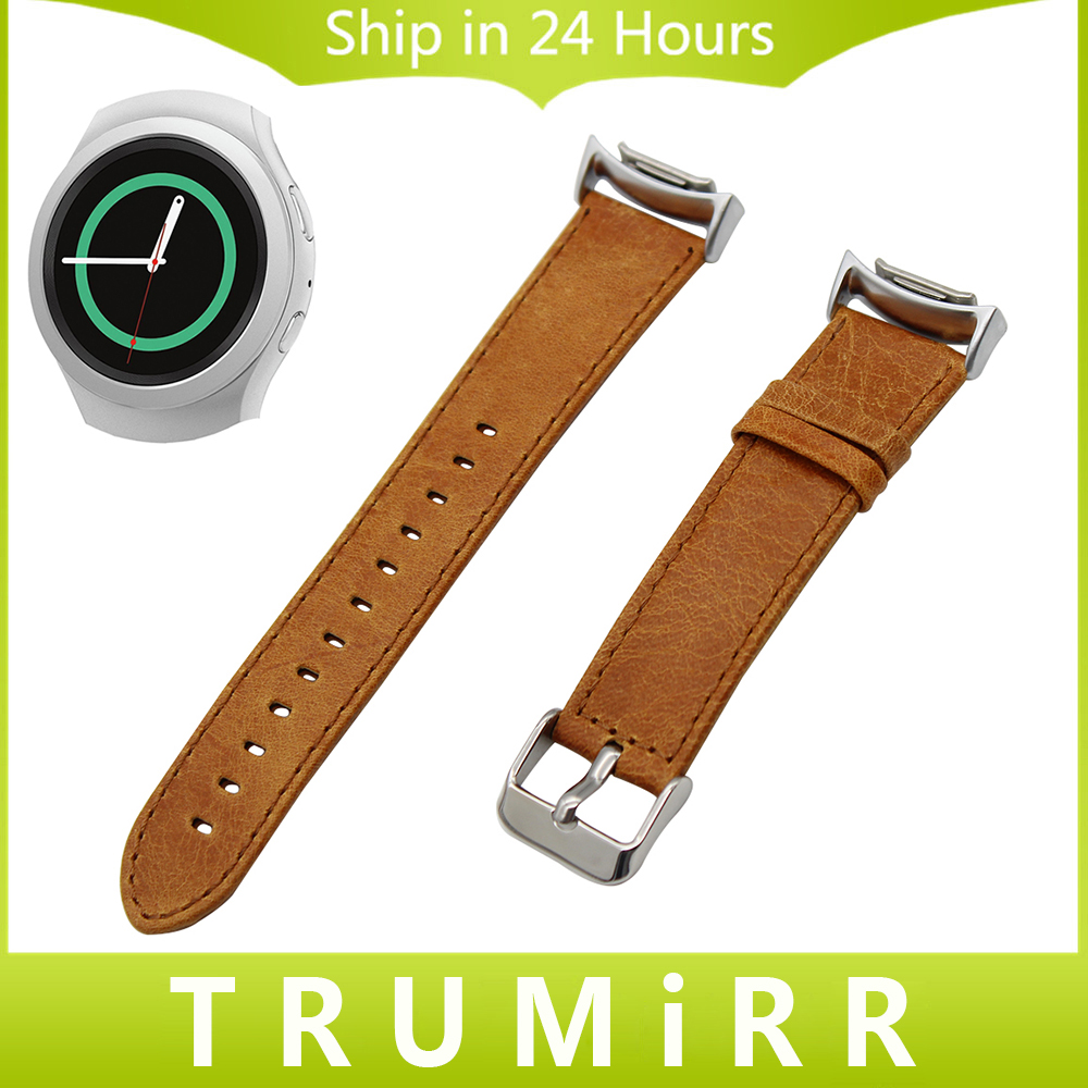 Genuine Leather Watch Band + Adapters for Samsung Gear S2 SM-R720 / R730 Crazy Horse Strap Quick Release Pin Belt Bracelet Brown<br><br>Aliexpress
