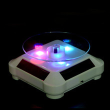 3LED Color Lights Solar Showcase 360 Turntable Rotating Jewelry Watch Ring Display Stand Creative Jewelry Display gold white(China)