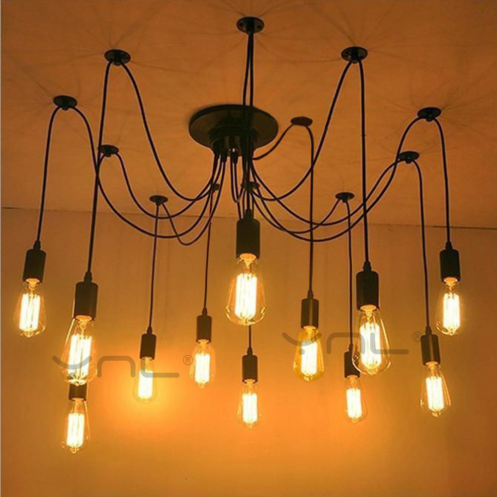 Modern Retro Edison Bulb E27 Vintage lamps Antique DIY Art Spider Pendant Lights 2 meters Line Home Lighting suspension<br>