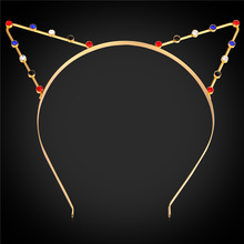 Rhinestone Hairband For Women Hot Fashion Jewelry Gold Color Cute Cat Ear Party Costume Hairwear F1700
