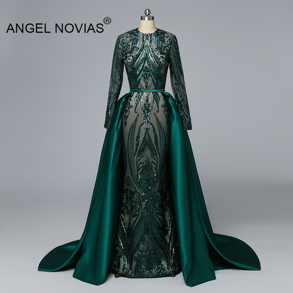 Angel Novias Real Long Sleeves Muslim Green Evening Dress 2019 Frauen Abend Kleid 2018 Prom Party Gown with Detachable Skirt