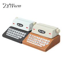 KiWarm 1PC Mini Retro Typewriter desktop figurines wooden message note clip pictures photo holder Home decor Arts crafts gift(China)