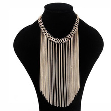 2017 Long Metal Chain Tassel Necklace For Women African Statement Chocker Necklace Bohemian Ethnic Jewelry For Women