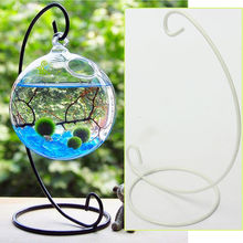 Newly Design Creative Iron Candlestick Glass Ball Hanging Holder Candle Stand Light Holder