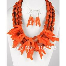 New Free Shipping Chunky Beach Sea Lift Orange Coral Reef 18-21'' Necklace 925 Silver Dangle Earrings Top Quality Wholesale