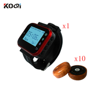 Wireless Customer Calling System Waiter Call To The Hospital Restaurant Wireless 1 Wristwatches + 10 Transmitter Buzzer Bell(China)