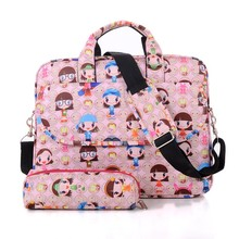 New 2 in1computer bag 13/14 / 15.6 inch cute cartoon flowers Miss fashion portable shoulder laptop bag