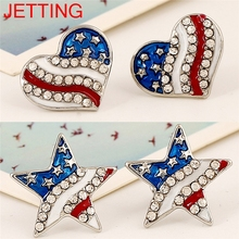 JETTING 1Pair American National Flag Ear Stud Patriotic Red Blue Star/Heart Shape Earrings Jewelry