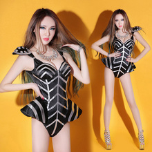 Women's Stage Wear Jazz  singer Dance silver black  Dj Costume Ds Clothing bodysuits leotards Dancing Costumes outfits