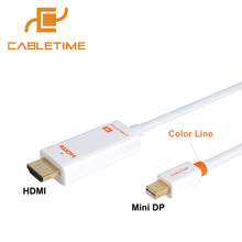 Cabletime Mini dp to HDMI 4K Mini DisplayPort to HDMI Adapter HDMI Display Port Cable for 1080P TV Lenovo Computer MacBook N043