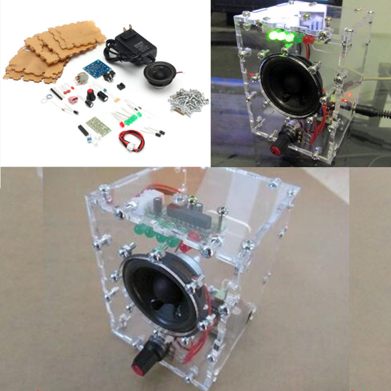 Free Shipping New Transparent Speaker Box LM386 Amplifier Kit With Case PC Speaker DIY KIT with acrylic case<br><br>Aliexpress