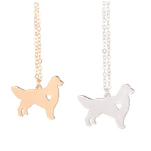 Gold & silver 1pc Golden Retriever Necklace Dog Pendant Dog Breed Silver Charm Pets New Puppy Adopt Dog lovers(China)