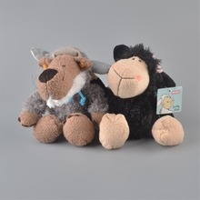 2Pcs 25cm NICI black Sheeps And Gray Wolf Stuffed Plush Toy, Baby Kids Doll Gift Free Shipping