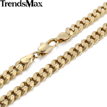 Trendsmax 6MM BOYS MENS Chain Curb Cuban Chain Gold Filled Necklace Fashion Jewelry Customized Any Length GN30