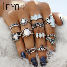 IF YOU 12 PCs/Lot Bohemian Miracle Opal Crystal Stone Midi Knuckle Ring Set For Women Vintage Animal Crown Finger Rings Jewelry