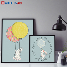 AFFLATUS Nordic Wall Art Painting Modern Animal Rabbit Canvas Painting Wall Pictures Canvas Poster Print Kids Room Home Decor(China)