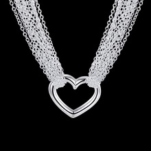 Women's Jewelry 18'' Mesh Belt chain necklace 925 sterling silver fashion charm heart pendant Necklaces gift pouches N028