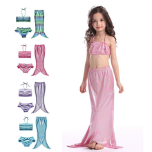 Girls Mermaid Tail for Swimming Mermaid Girl Costume Summer Swimming Suit Bikini Set Bathing Suit Shimmery Color 3-9Y