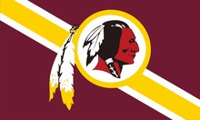 Washington Redskins logo with stars and stripes from USA Flag. 3FTx5FT 100D Polyester Flag  90x150 cm