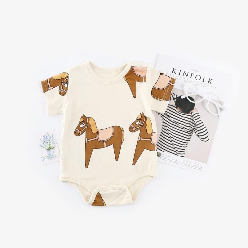 Newborn Baby Girls Rompers Sleeveless Cotton Onesie,Wooden Horse Toys Bodysuit Spring Pajamas