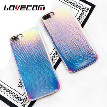 LOVECOM Luxury Crocodile Grain Shining Laser Phone Case For iPhone 6 6 Plus 7 7 Plus Soft Leather Back Cover Coque Fundas