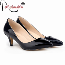 Plus Size 42 Fashion Sexy Pointed Toe Patent Leather 5CM Comfort Thin mid High Heels Woman Shoes Women's Pumps Black Nude(China)