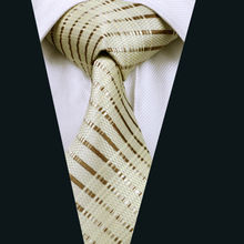 2016 Hot Men`s Tie 100% Silk Khaki & Brown Striped Jacquard Woven Necktie Gravata For Men Formal Wedding Party Business LD-656(China)