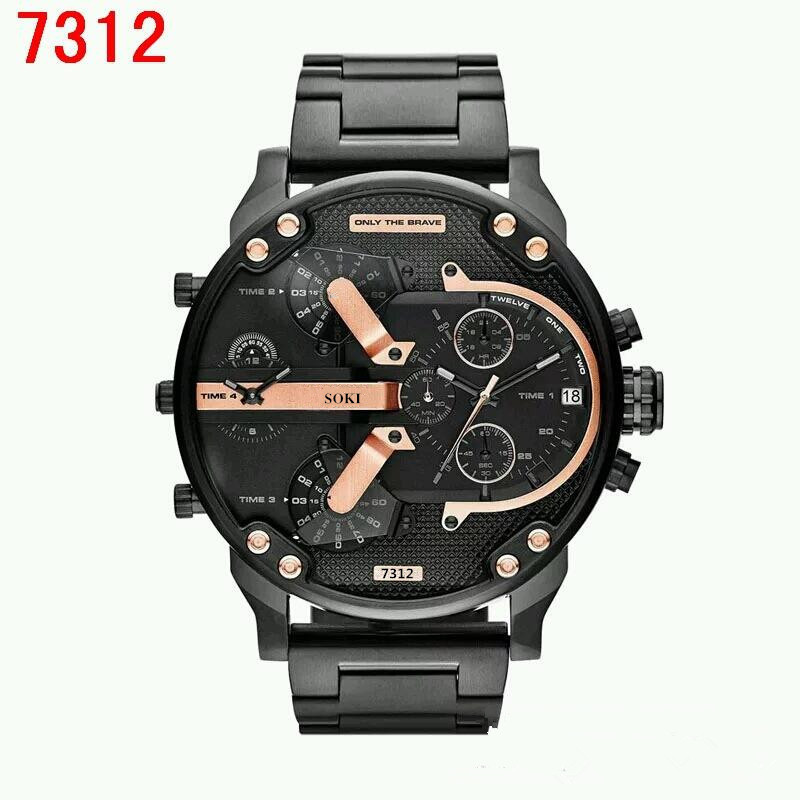 SOKI-7312, the big dial is 5.2 CM leisure mens watch, two time sports brand watches, quartz watches, fashion luxury men watch<br><br>Aliexpress
